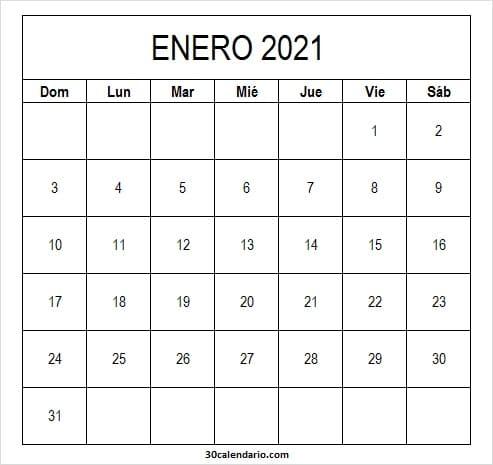 Calendario Enero 2021 Con Feriados