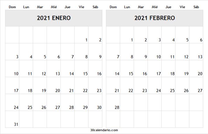 Calendario Enero Febrero 2021 Chile