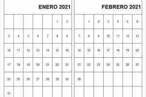 Calendario Enero Febrero 2021 Infantil