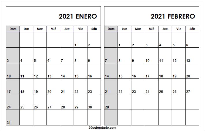Calendario Enero Febrero 2021 Word