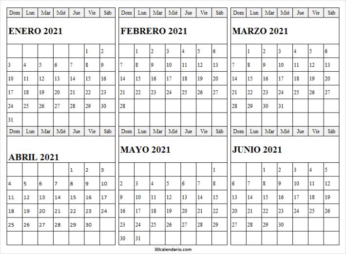 Calendario Enero a Junio 2021 En Chile