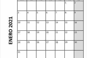 Calendario Mensual De Enero 2021