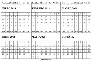 Enero a Junio 2021 Calendario En Blanco