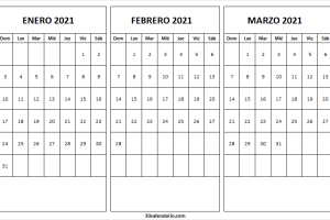 Plantilla Calendario Mes Enero a Marzo 2021