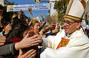Cardinal Bergoglio among the faithful at the sanctuary of San Cayetano, Buenos Aires, Argentina