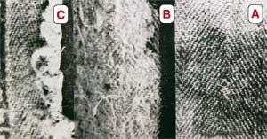 Der Grabtuch-Stoff (A) im Vergleich mit ähnlichen ägyptischen Stoffen (B und C) aus dem 2. Jahrhundert n. Chr.