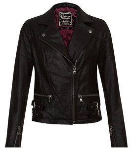 Black Leather Buckle Hem Biker Jacket £69.99