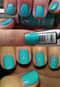 No7 Summer Collection Gel-Look Shine Nail Colours Mint Treat - On Nails (No Flash), Label, On Nail (With Flash)