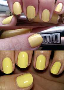No7 Summer Collection Gel-Look Shine Nail Colours (LIMITED EDITION) Lemon Drop (Top-Bottom) - On Nails (No Flash), Label, On Nail (With Flash)