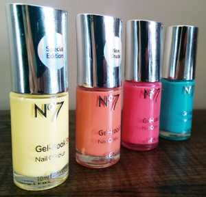 No7 Summer Collection Gel-Look Shine Nail Colours in Limited Edition Lemon Drop, Orange Spice, Summer Holiday and Mint Treat