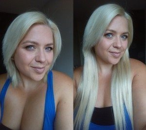 """Halo 16"""" Deluxe in #613 Light Blonde - Halo Hair Extensions - Before and After"""