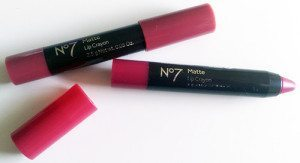 No7 Matte Lip Crayon in Raspberry Red and Raspberry Wine.