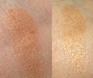 Wild About Beauty Powder Eyeshadow inFern 05 swatch (left) Without Flash (Right) With Flash
