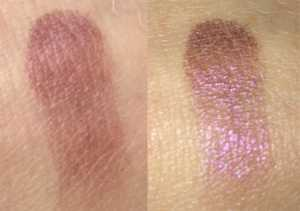 Wild About Beauty Powder Eyeshadow in Heather 09swatch (left) Without Flash (Right) With Flash