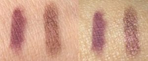 Wild About Beauty  Eyeshadow Pencil Duo Penny 05 swatch (left) Without Flash (Right) With Flash