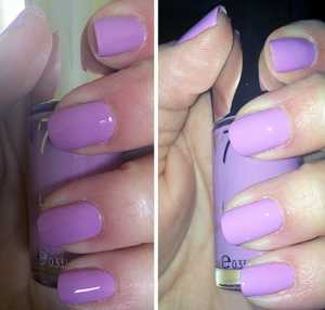 No7 Gel-Look Shine Nail Colour Sweet Lilac Swatch (Left) Without Flash (Right) With Flash