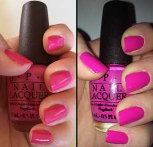 OPI nail polish in Kiss Me On My Tulips. A bright summery fuchsia gloss shade. Perfect for all nail lengths.  2 coats to opaque.