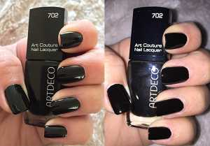 Artdeco Art Couture Nail Polish in 702 Couture Dark Queen (Left) Without Flash (Right) With Flash