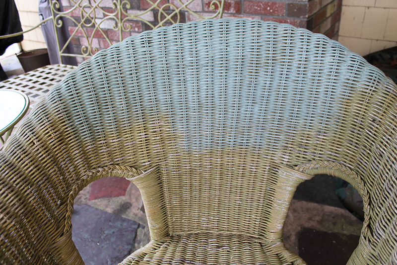 progress picture with chalk paint on wicker chair