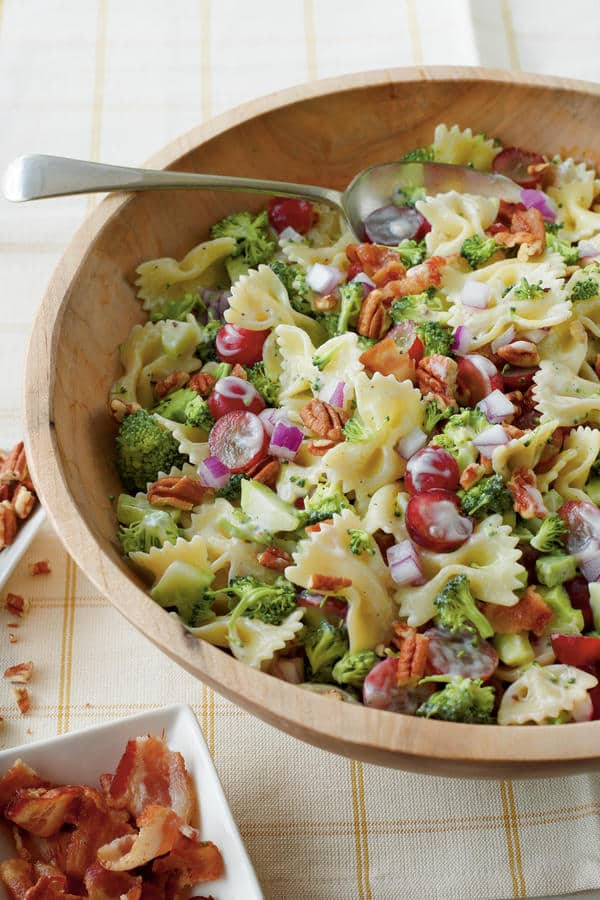 Broccoli, Grape and Pasta Salad with pecans, farfalle, red grapes and bacon