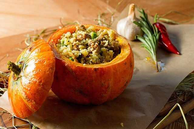 Pumpkin Stuffed with Herbed Apple Couscous