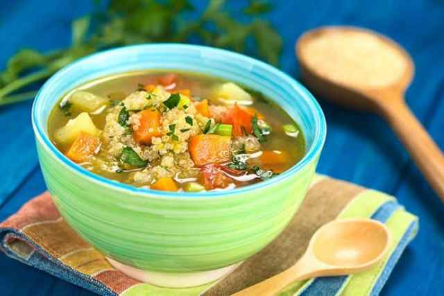 Quinoa Vegetable Soup with Leeks, Carrots and Potatoes