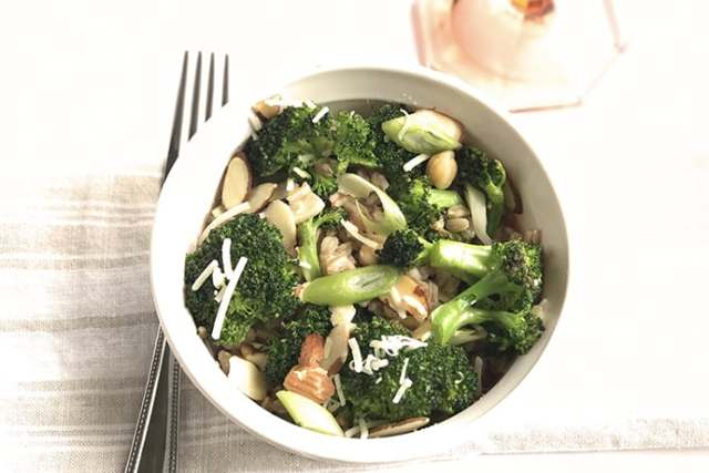 Charred Broccoli Salad with Farro, Chickpeas and Almonds