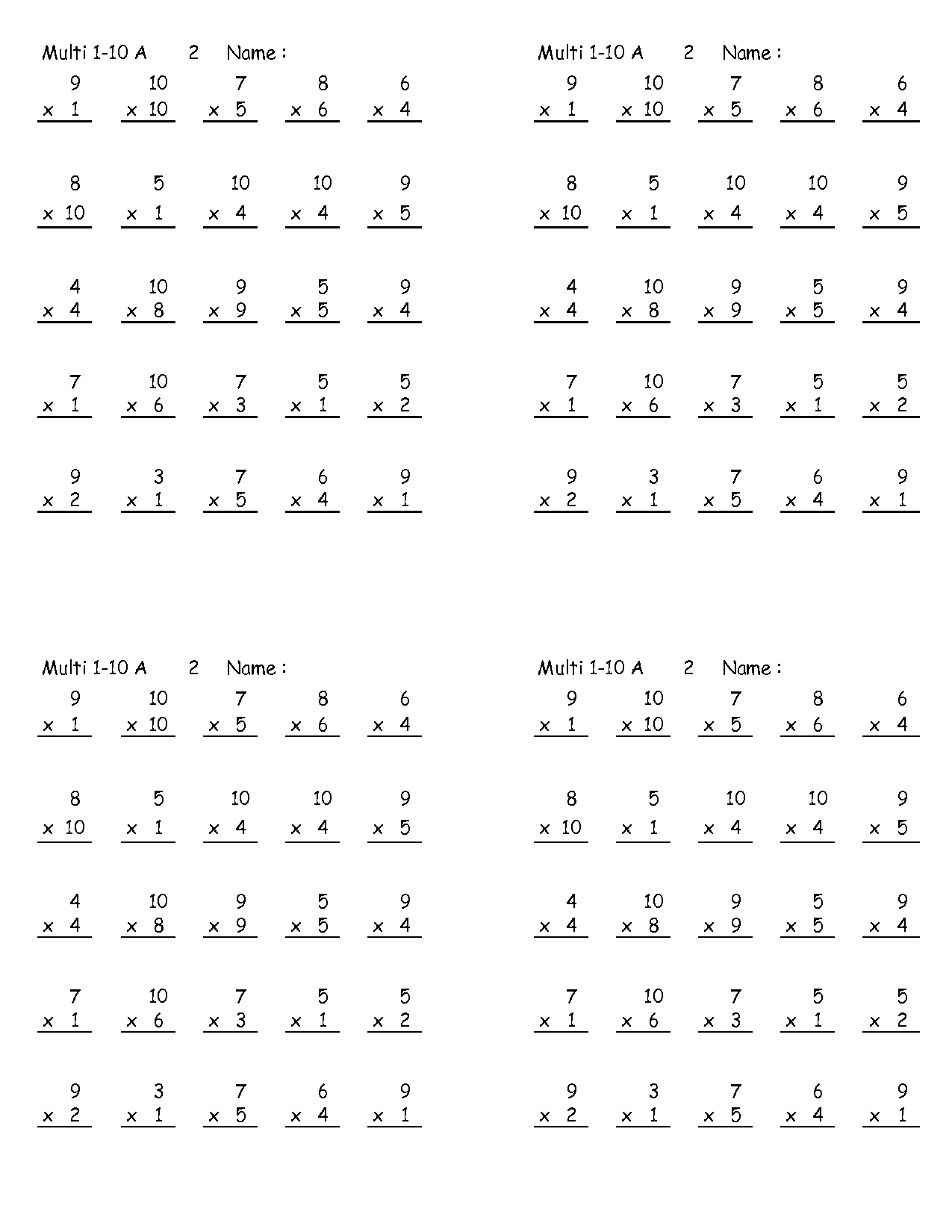 Search Results For Multiplication Math Sheets 4th Grade
