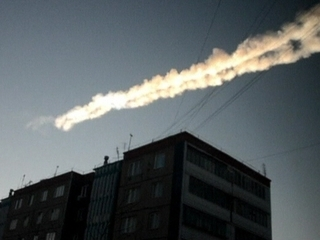 Vista del meteorit que ha caigut als Urals