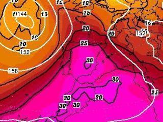 Temperatures a 850 hPa, divendres 10 d'agost (Font: GFS-Topkarten)