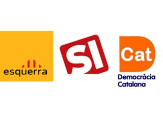 Els logotips d'ERC, Solidaritat i Democràcia Catalana.