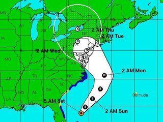 """Evolució prevista de l'huracà """"Sandy"""" (Font: NOAA)"""