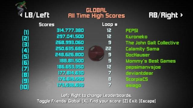 Game Type Highscores