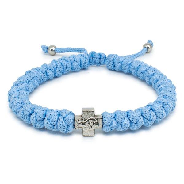 Adjustable Light Blue Prayer Rope Bracelet-0