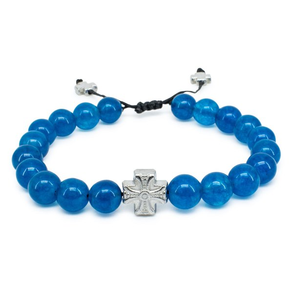 Blue Jade Stone Orthodox Bracelet | 33Knots Online Store