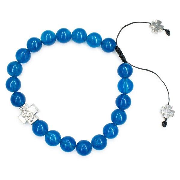 Fabulous blue candy jade prayer bracelet