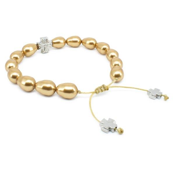 Gold Swarovski Teardrop Pearl Orthodox Bracelet-501