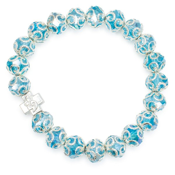 "Fabulous Light Blue Glass Prayer Bracelet ""Eugenia"""