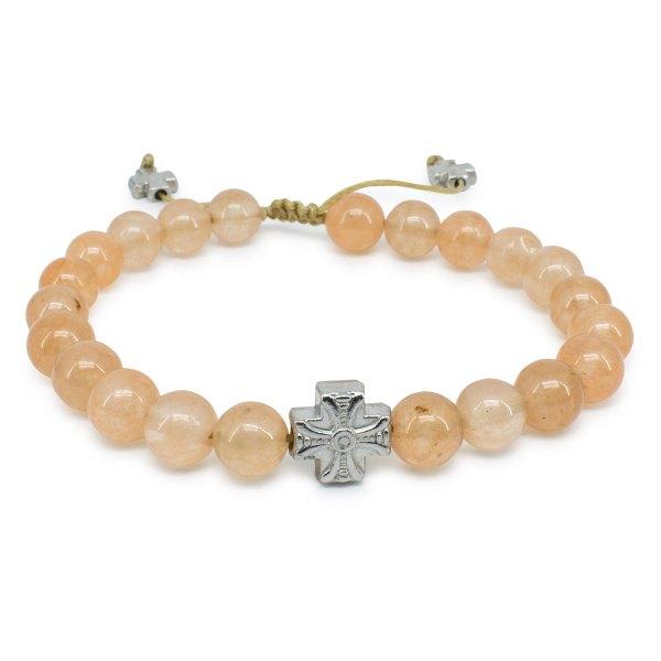 Orange Candy Jade Stone Prayer Bracelet