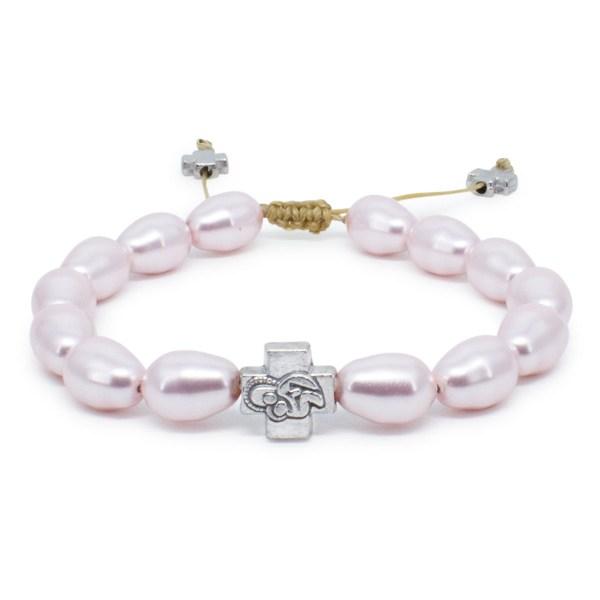 Pink Swarovski Teardrop Pearl Orthodox Bracelet-0