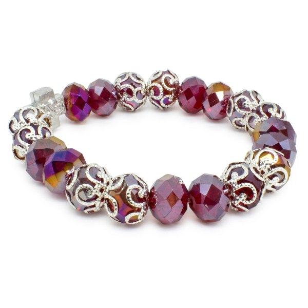 "Brilliant Red Glass Prayer Bracelet ""Sara"""