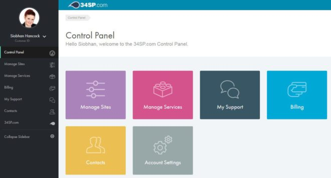 34SP control panel screenshot