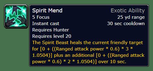 Spirit Mend Tooltip