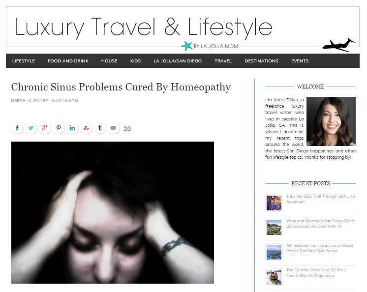 Chronic Sinus Problem Cured by Homeopathy on La Jolla Mom