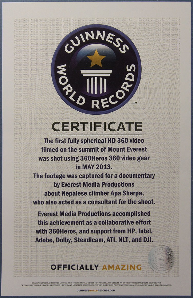 Guinness Book of World Records Certificate