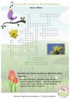 jeu gratuit, jeu à imprimer, jeu pour le printemps, mots croisés du printemps