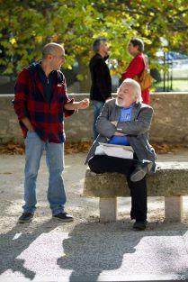 Discussions camusiennes: Alessandro Bressolin (li.) und Manfred Stassen. ©Foto: Andrea Martella