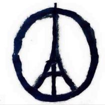 Der französische Graphik-Designer Jean Jullien schuf dieses Signet, das zum Symbol gegen den Terror-Anschlag vom 13. November 2015 in Paris wurde: www.jeanjullien.com