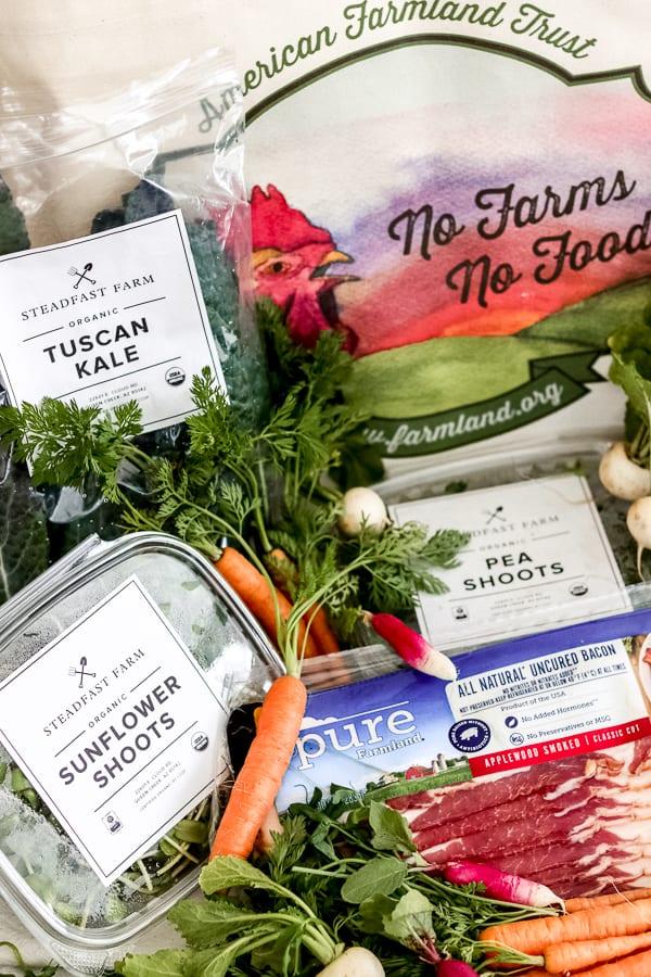 Farmland bacon and produce from Steadfast Farm in Mesa, AZ.