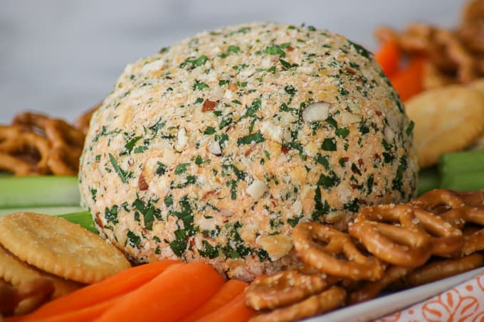 A Buffalo Chicken Cheese Ball with carrots and pretzels in foreground.